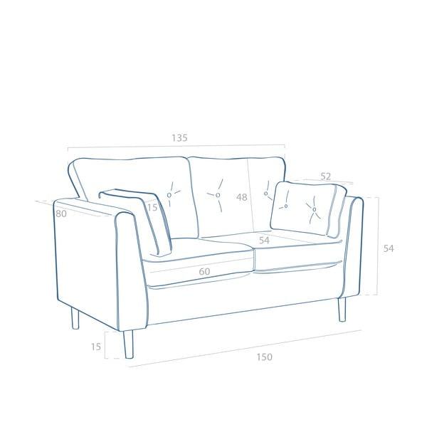 Szara sofa dwuosobowa VIVONITA Portobello