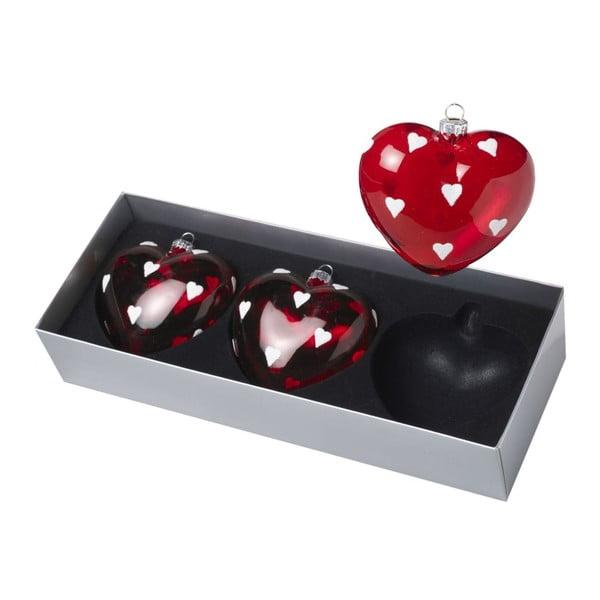 Ozdoby świąteczne Hearts Red/White, 3 szt.