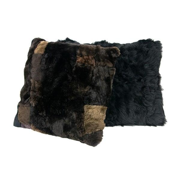 Futrzana poduszka 45x45 cm, czarnobrązowa