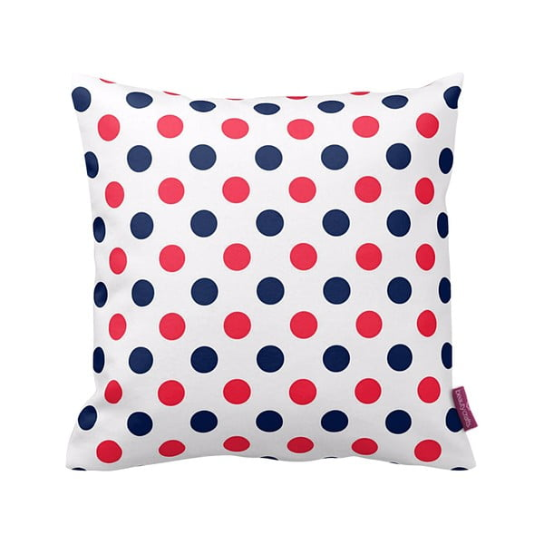Poduszka Red and Navy Dots, 43x43 cm
