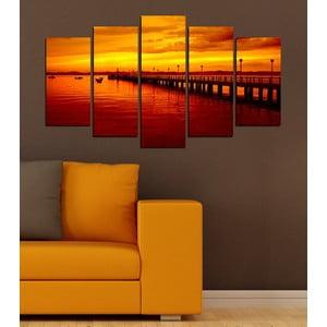5-częściowy obraz Zachód słońca nad jeziorem