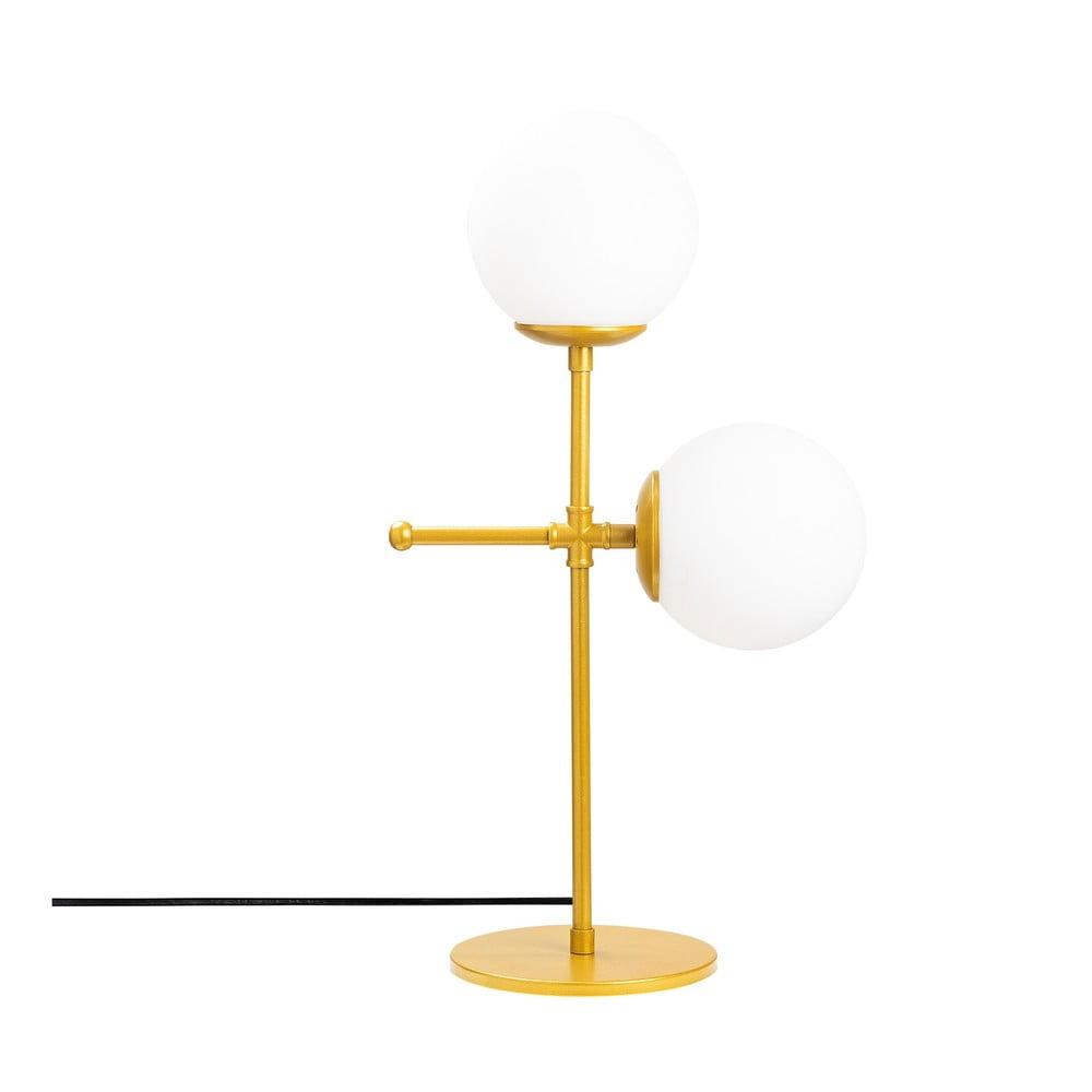 Biała lampa stołowa z elementami w kolorze złota Opviq lights Mudoni