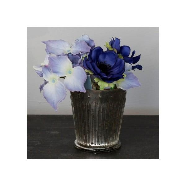Szklany wazon ze sztucznymi kwiatami Hydrangea, 16 cm
