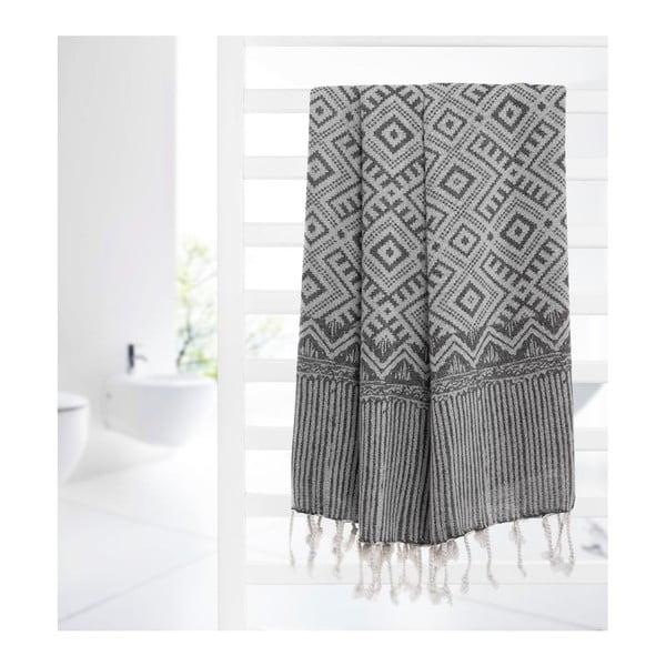 Ręcznik hammam Peak Black, 95x180 cm
