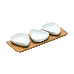 Zestaw 3 misek do serwowania na bambusowej tacy Premier Housewares Trio Snacks