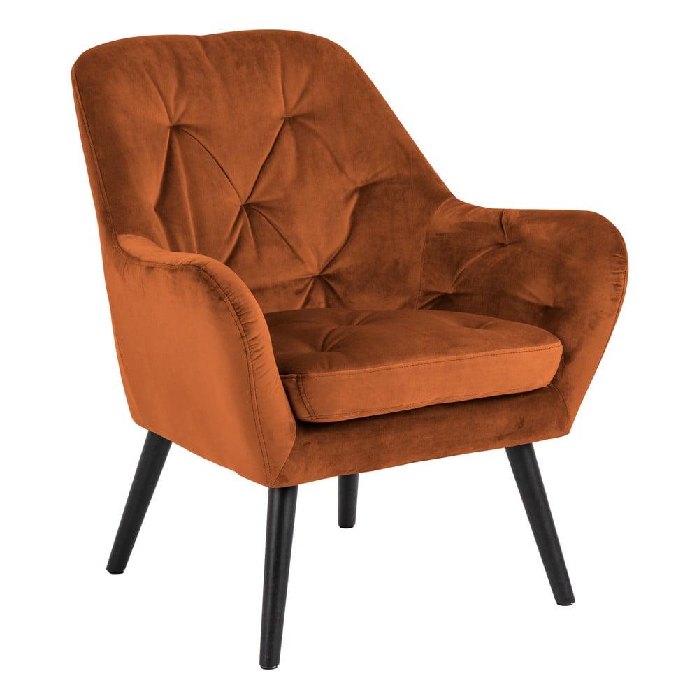 Miedziany fotel z aksamitnym obiciem Actona Astro