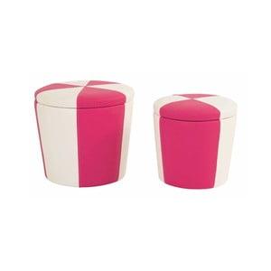 Zestaw 2 taboretów ze schowkiem Toffee, różowy