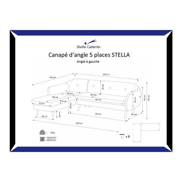 Ciemnoszary 3-osobowy narożnik lewostronny Scandi by Stella Cadente Maison