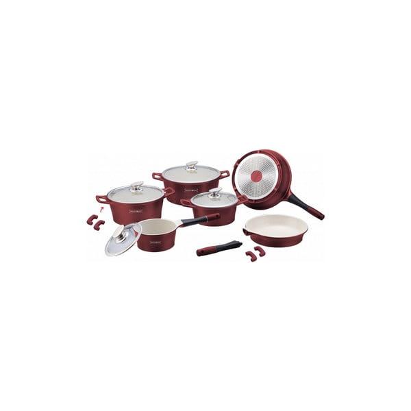 14-częściowy ceramiczny komplet garnków i patelni Die Cast, bordowy