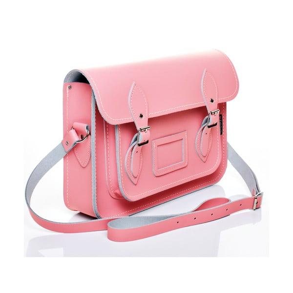Skórzana torebka Satchel 40 cm, różowa