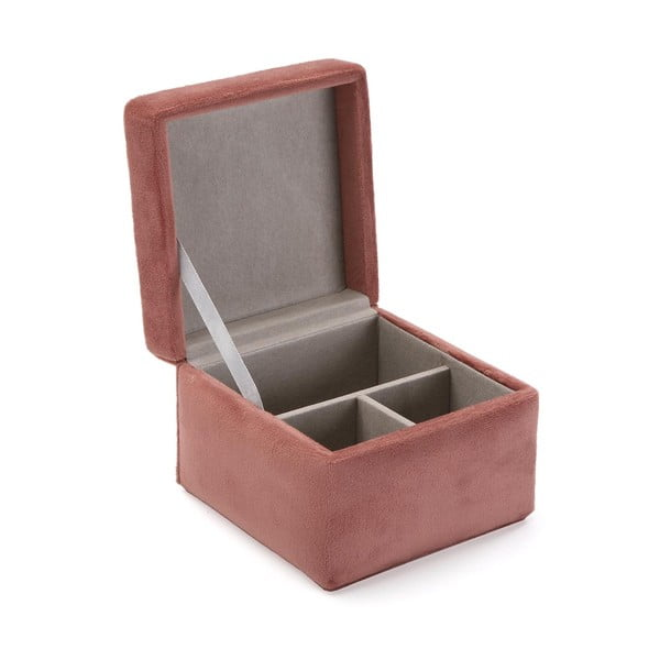 Szaroróżowa aksamitna szkatułka na biżuterię Versa Terracota
