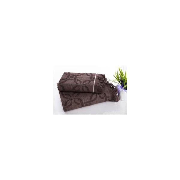 Komplet ręczników hamam Istanbul Brown, 50x90 oraz 70x150 cm