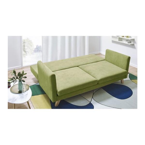 Zielona rozkładana sofa 3-osobowa Bobochic Paris Triplo
