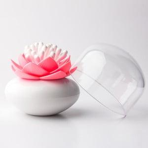 Pojemnik na patyczki do uszu QUALY Lotus, biały/różowy