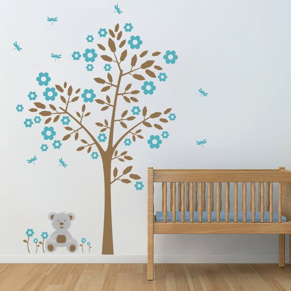 Naklejka ścienna Drzewo i niedźwiadek, niebieska, 2 arkusze, 70x50 cm