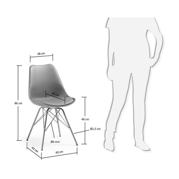 Szare krzesło z metalowymi nogami La Forma Lars