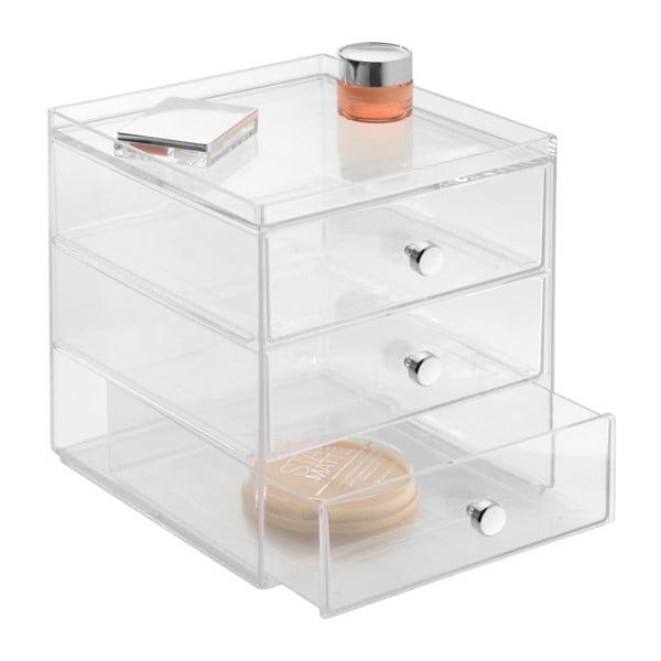 Przezroczysty organizer z 3 szufladami iDesign Drawers, wys. 18 cm