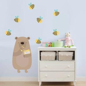 Naklejka dekoracyjna na ścianę Niedźwiadek i miód