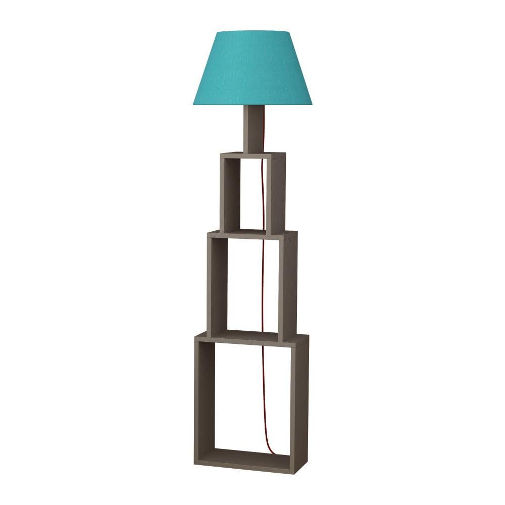 Lampa stojąca z jasnoniebieskim abażurem Homitis Tower