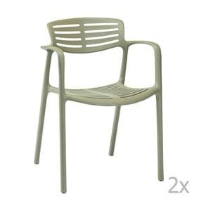 Zestaw 4 zielonych krzeseł ogrodowych z podłokietnikami Resol Toledo Aire