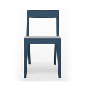 Niebieskie krzesło tapicerowane  z drewna dębowego Another Brand Cubo Light Grey
