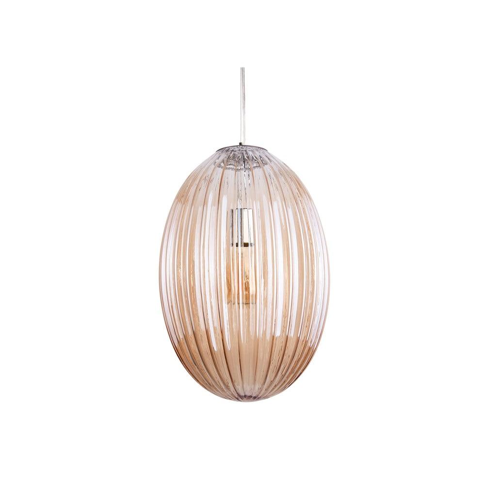 Brązowa szklana lampa wisząca Leitmotiv Smart,ø30cm