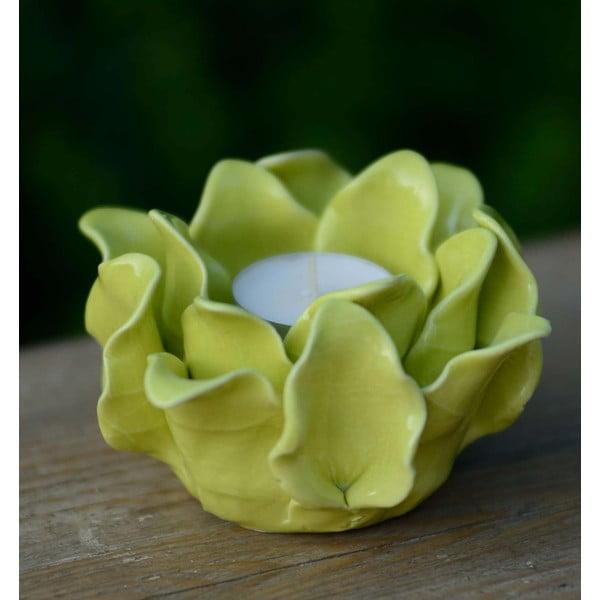 Ceramiczny świecznik Lotos, żółtozielony