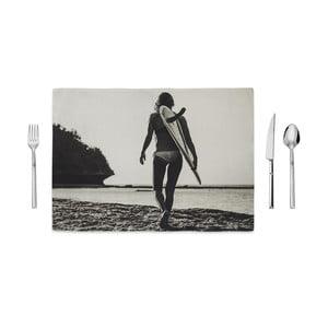 Czarno-biała mata kuchenna Home de Bleu Tropical Surf, 35x49cm