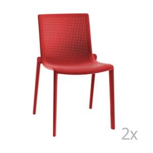 Zestaw 2 czerwonych krzeseł ogrodowych Resol beekat