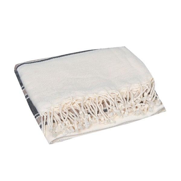 Czarny ręcznik hammam Veronica Black, 90x190cm