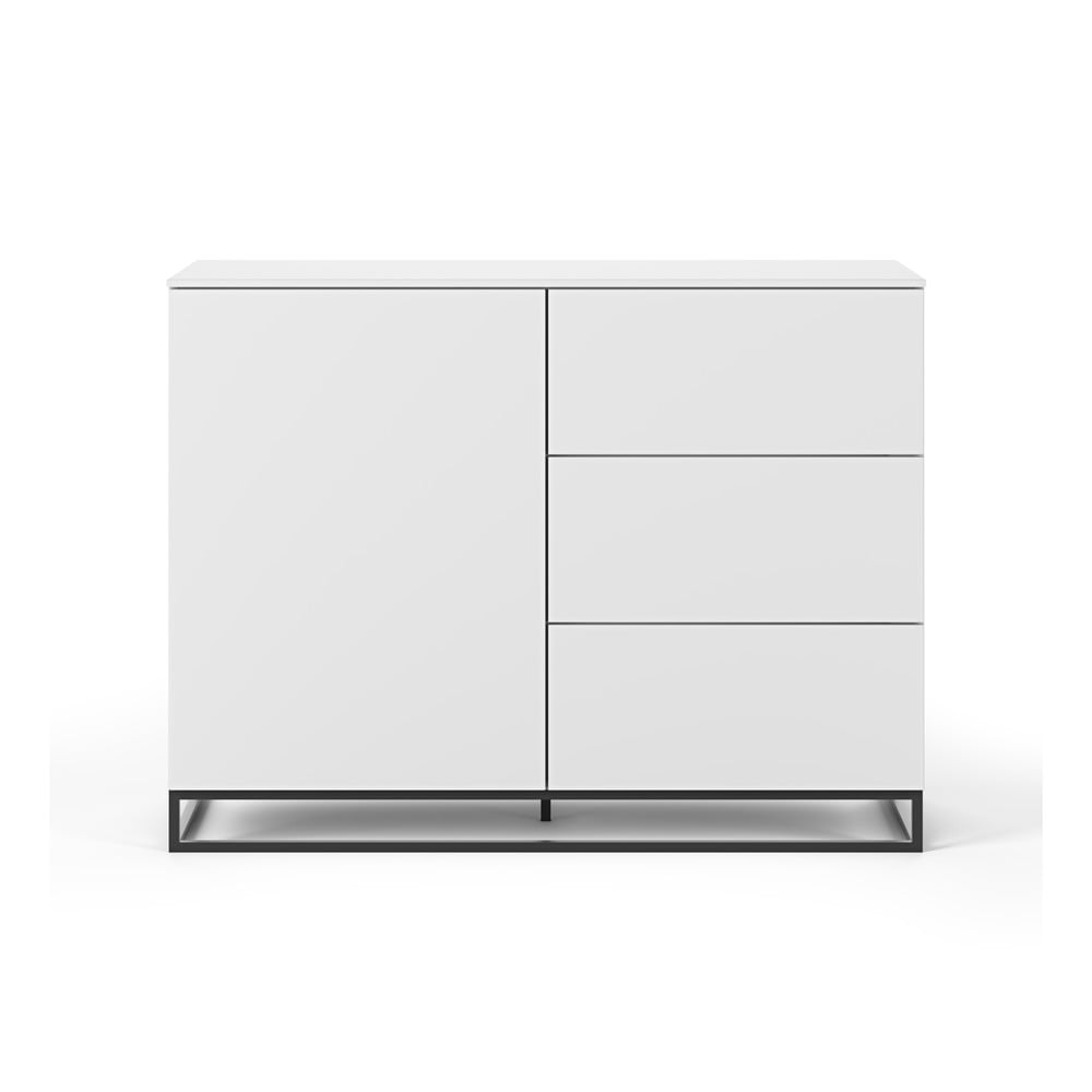 Biała komoda z 3 szufladami, 3 półkami i czarnymi nóżkami TemaHome Join