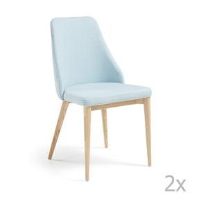 Zestaw 2 jasnoniebieskich krzeseł La Forma Roxie