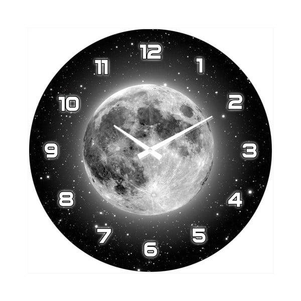 Szklany zegar Pełnia księżyca, 34 cm