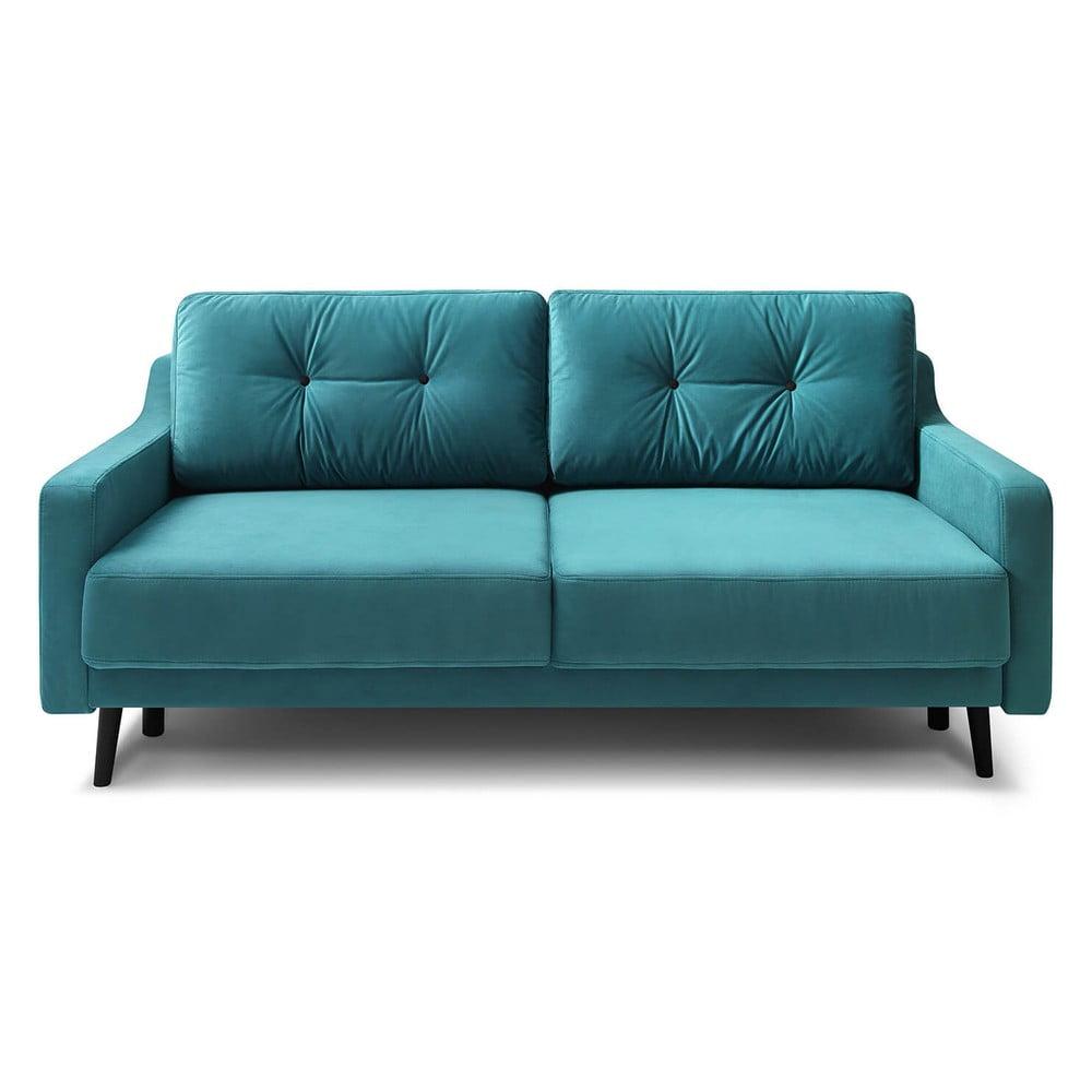 Turkusowa aksamitna rozkładana sofa 3-osobowa Bobochic Paris Torp