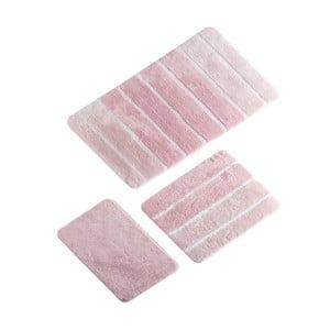 Zestaw 3 różowych dywaników łazienkowych Line Bath Mat Sima