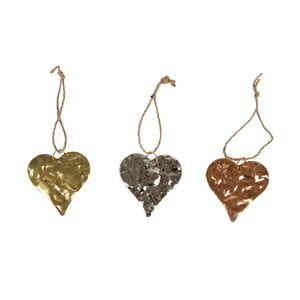 Zestaw 3 dekoracji Sass & Belle Hearts