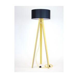 Żółta lampa stojąca z czarnym abażurem i żółtym kablem Ragaba Wanda