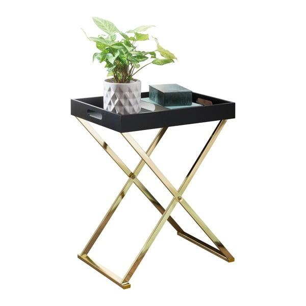 Czarny stolik podręczny z nogami w złotym kolorze Skyport Nina TV, wys. 61 cm