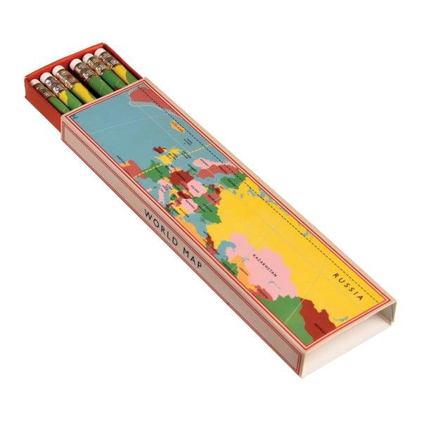 Zestaw 6 ołówków w pudełku Rex London World Map