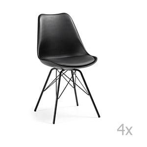 Zestaw 4 czarnych krzeseł z metalowymi nogami La Forma Lars