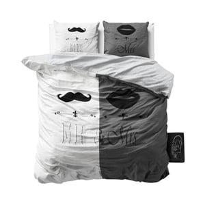 Szara pościel z mikroperkalu Sleeptime Mr and Mrs, 200x220cm