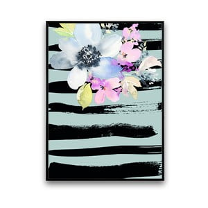 Plakat z kwiatami, modro-czarne tło, 30 x 40 cm