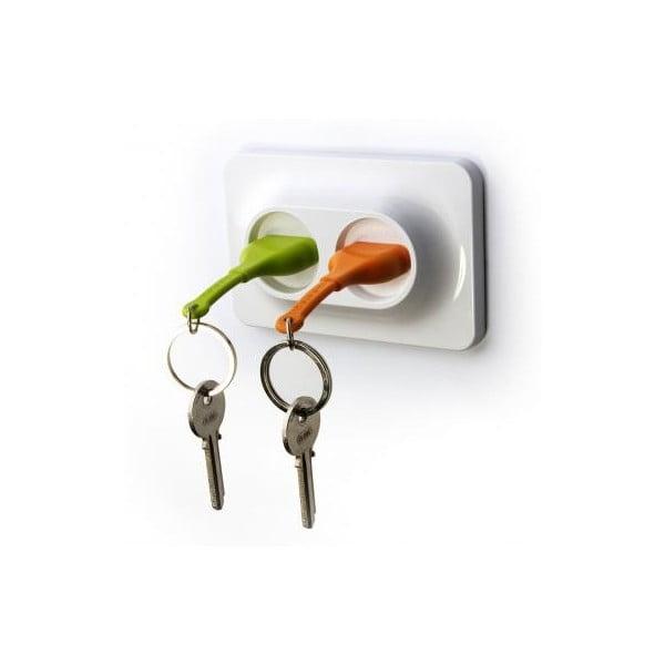 Naścienny uchwyt z zawieszkami na klucze QUALY Double Unplug, zielony/pomarańczowy