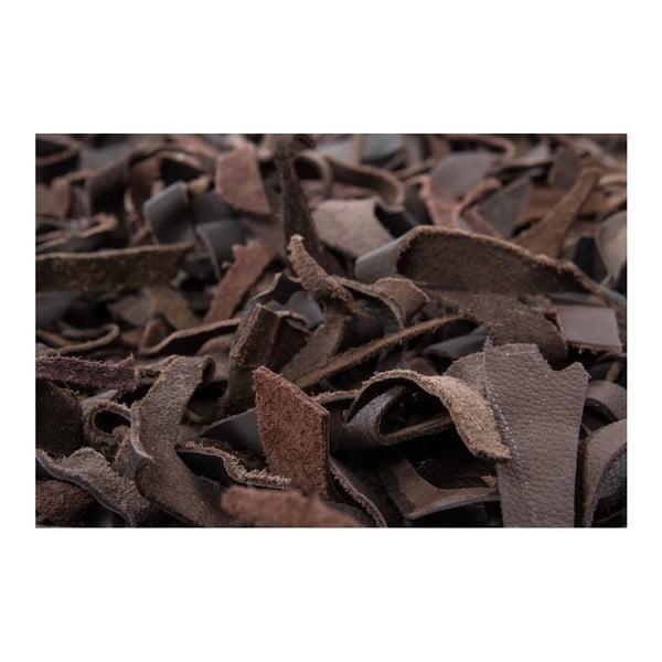 Ciemnobrązowy skórzany dywan Rodeo, 80x150cm