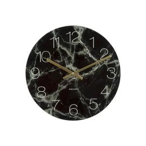 Czarny zegar Karlsson Glass Marble, ⌀ 40 cm