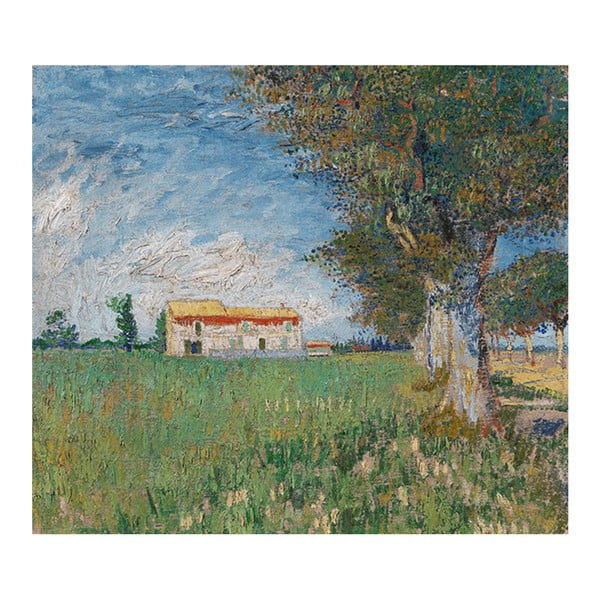 Obraz Vincenta van Gogha - Farmhouse in a Wheatfield, 50x45 cm
