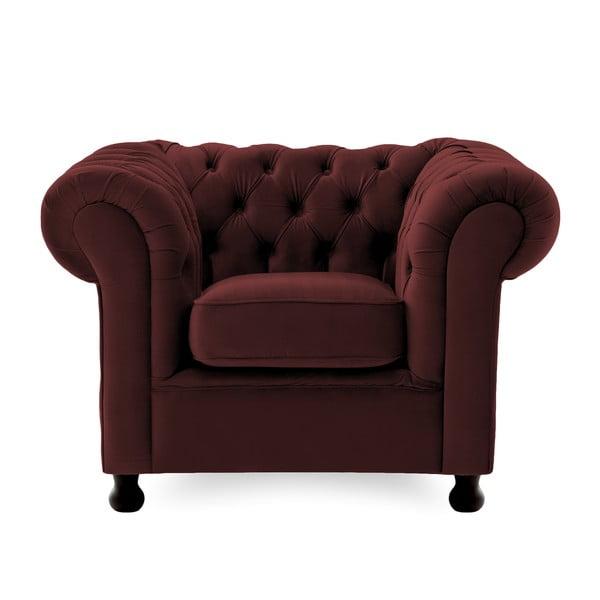 Bordowy fotel Vivonita Chesterfield