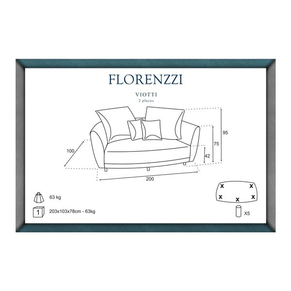 Sofa dwuosobowa Viotti Light Grey/Anthracite