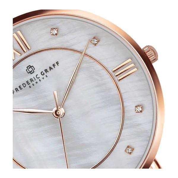 Zegarek damski z bransoletką ze stali nierdzewnej w kolorze srebra i różowego złota Frederic Graff Liskamm