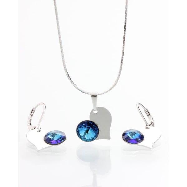 Komplet naszyjnika i kolczyków z kryształami Swarovskiego Yasmine Blue Heart
